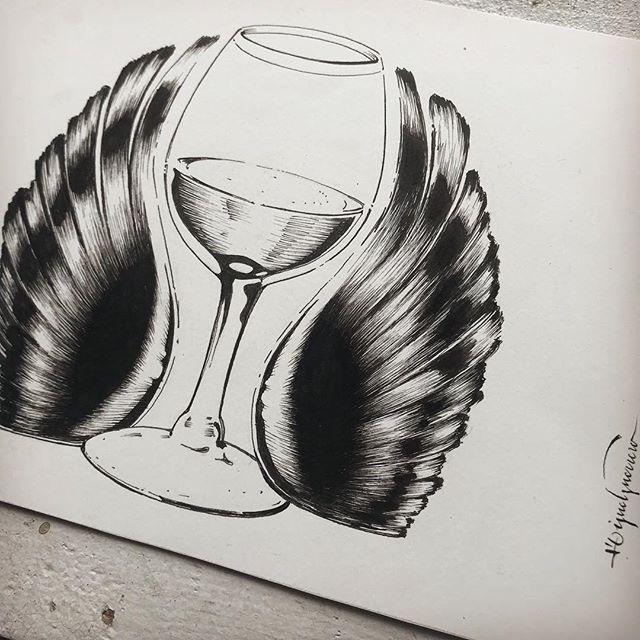 #ilustracion a #tinta para @alconvaldes , qué grandes recuerdos ! . @sakura_europe #ink on @cansonpaper #illustration
