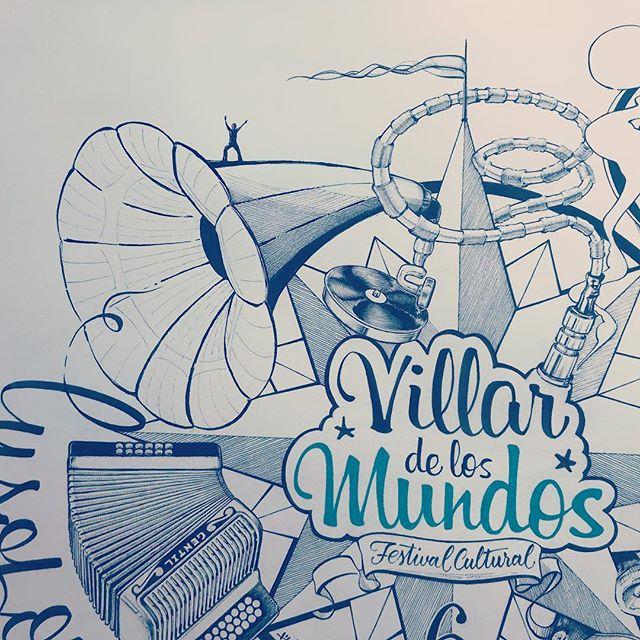 #cartel para el Festival #villardelosmundos . #ilustración #caligrafía a #tinta.#festivalvillardelosmundos #sign. #ink #calligraphy #illustration . @nico_villar