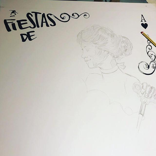 Hace una semanita... Cartel #camponaraya , comenzando #ilustración a #tinta @sakura_europe sobre #moulinduroy @cansonpaper 100% algodón..Starting an #ink #illustration . #sakurapigma #markers on #canson #paper .