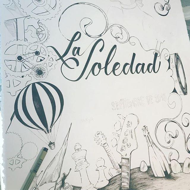 Hace una semanita... Cartel para La Soledad #camponaraya , comenzando #ilustración a #tinta @sakura_europe sobre #moulinduroy @cansonpaper 100% algodón. #caligrafía .Starting an #ink #illustration . #sakurapigma #markers on #canson #paper . #calligraphy