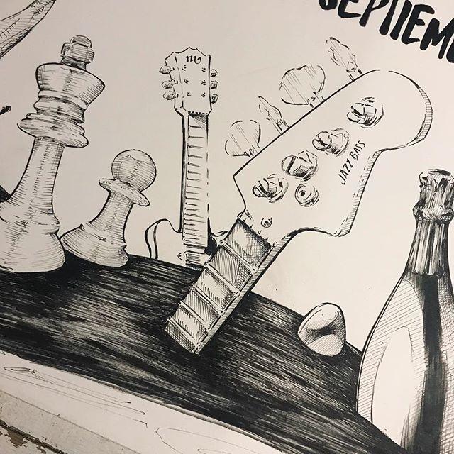 Hace una semanita... Cartel #camponaraya , #ilustración a #tinta @sakura_europe sobre #moulinduroy @cansonpaper 100% algodón. #caligrafía .Starting an #ink #illustration . #sakurapigma #markers on #canson #paper .#calligraphy