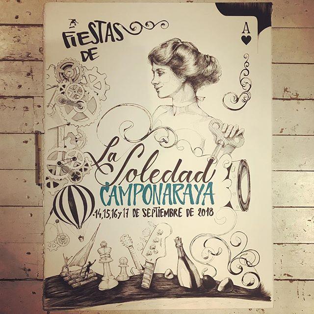 Hace una semanita... Cartel #camponaraya , #ilustración a #tinta @sakura_europe sobre #moulinduroy @cansonpaper 100% algodón. #caligrafía .#ink #illustration . #sakurapigma #markers on #canson #paper .#calligraphy and #lettering